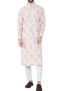 salmon-pink-block-printed-kurta