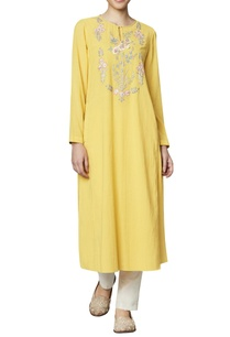 yellow-cotton-georgette-tunic