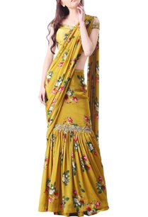 yellow-crepe-printed-sari-with-blouse