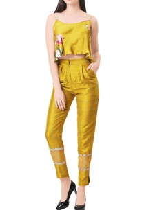 mustard-modal-silk-raw-silk-flared-blouse-with-panelled-pants