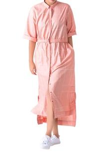 pastel-pink-grid-pattern-shirt-dress
