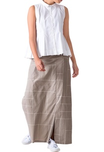 sage-green-grid-printed-poplin-pants-with-a-front-skirt-layer