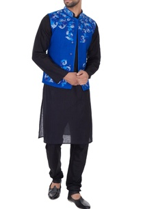 electric-blue-matka-silk-embroidered-bundi