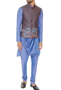 blue-silk-linen-draped-kurta-with-churidar-embroidered-bundi