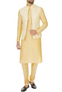 beige-linen-solid-kurta-with-churidar-printed-bundi