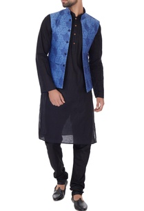 blue-linen-self-print-bundi