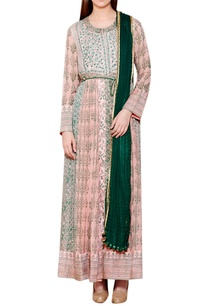 light-pink-green-cotton-satin-georgette-block-print-kurta-with-churidar-dupatta