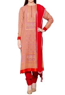 rose-pink-red-flat-silk-chiffon-block-print-kurta-with-churidar-dupatta