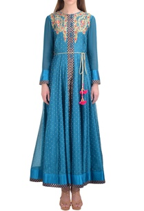 blue-chanderi-booti-jacquard-kurta-with-churidar
