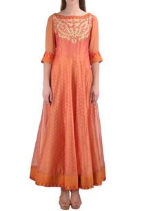 orange-chanderi-booti-jacquard-kurta-with-churidar