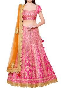 pink-raw-silk-dori-embroidered-lehenga-set