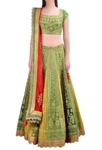 green-raw-silk-zari-embroidered-lehenga-set