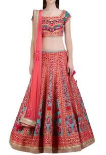 multicolored-floral-gota-embroidered-lehenga-set