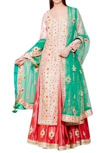 pink-gota-embroidered-kurta-with-lehenga-net-dupatta