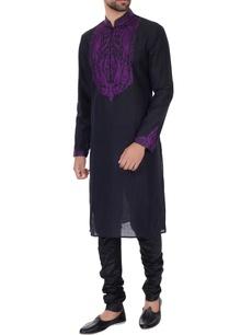 black-mauve-linen-embroidered-kurta-pyjamas