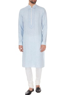 blue-linen-chambray-embroidered-kurta-pyjamas
