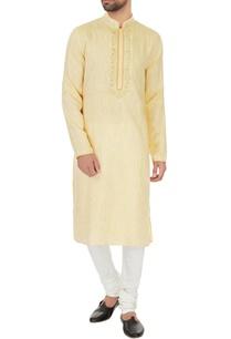 peach-linen-chambray-embroidered-kurta-pyjamas