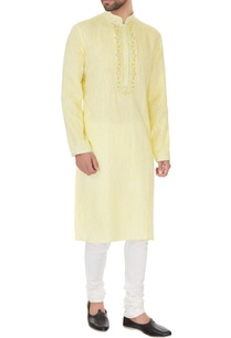 yellow-linen-chambray-embroidered-kurta-pyjamas