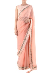 salmon-pink-taj-printed-saree-with-khadi-blouse