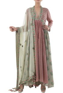 antique-jade-dusty-pink-hand-painted-kurta-set-with-dupatta