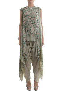 antique-jade-crepe-hand-painted-blouse-dhoti-pants-with-cape