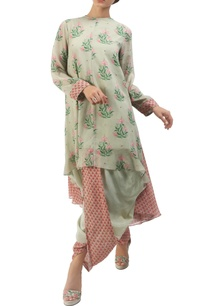 antique-jade-hand-painted-asymmetric-kurta-with-dhoti-pants