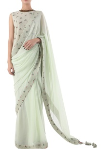 antique-jade-chiffon-hand-painted-sari-with-blouse