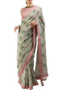 antique-jade-dusty-pink-crepe-hand-painted-sari-with-blouse