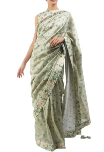 antique-jade-chanderi-organza-hand-painted-sari-with-blouse