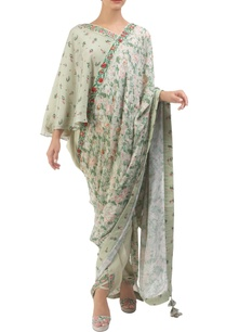 antique-jade-hand-painted-sari-with-one-shoulder-blouse