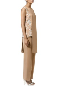tan-layered-ivory-embellished-jumpsuit
