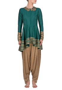 teal-embroidered-kurta-with-copper-dhoti-pants