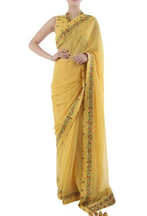 yellow-chiffon-sari-with-bouquet-printed-border-blouse