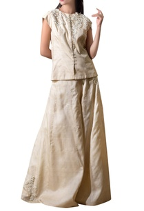 light-beige-mogra-tussar-silk-jacket-with-flared-pants