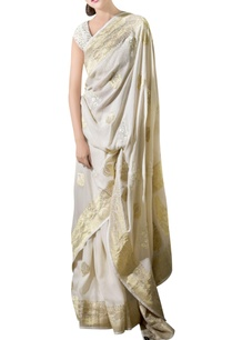 ivory-gold-georgette-brocade-sari-with-blouse