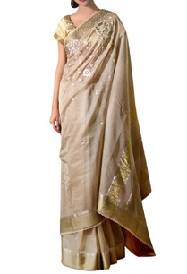 beige-gold-hand-embroidered-maheshwari-silk-sari-with-blouse-fabric