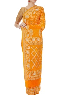orange-bandhani-mukaish-work-saree-with-unstitched-blouse
