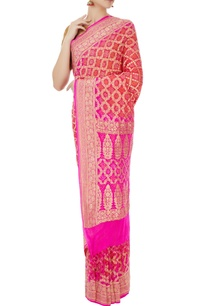 pink-purple-banarasi-bandhani-saree-with-unstitched-blouse