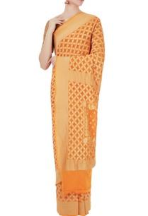 sunrise-orange-georgette-bandhani-banarasi-saree-with-unstitched-blouse