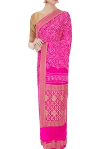bright-pink-bandhani-dyed-banarasi-thread-saree