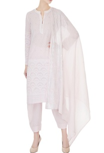 light-pink-applique-cotton-kurta-set
