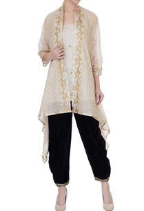 beige-spaghetti-kurta-with-zari-embroidered-cape-patiala-pants