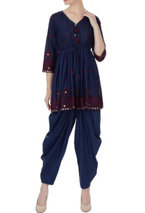 blue-pure-cotton-coin-embroidered-rajasthani-kurta-with-salwar-pants