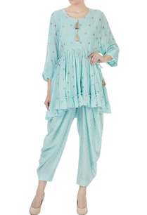 blue-ruffle-layer-zari-embroidered-short-kurta-with-dhoti-pants