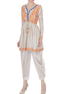 beige-orange-thread-embroidered-kurta-set