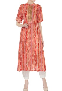 red-orange-shaded-pure-cotton-kurta-with-white-pants