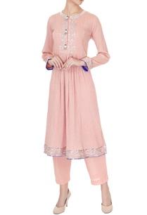 salmon-pink-check-embroidered-long-kurta-with-pants