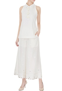 ivory-cotton-halter-short-kurta-with-embroidered-wide-legged-pants