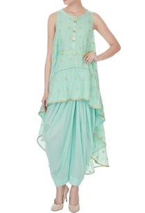 sky-blue-zari-embroidered-rajasthani-high-low-shirt-with-lurex-salwar-pants