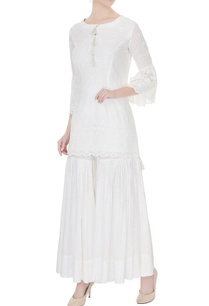 white-thread-embroidered-ruffle-sleeve-kurta-with-sharara-pants